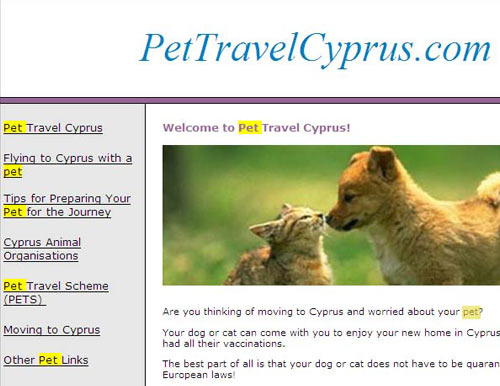 pettravelcyprus.com helps individuals with the common issues when travelling with your pet to Cyprus